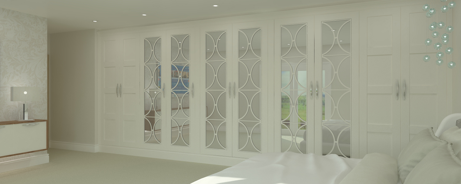 White Fretwork Shaker and Mirrored Bedroom